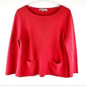 Ann Taylor LOFT Coral Knitted Long Sleeve Shirt M!